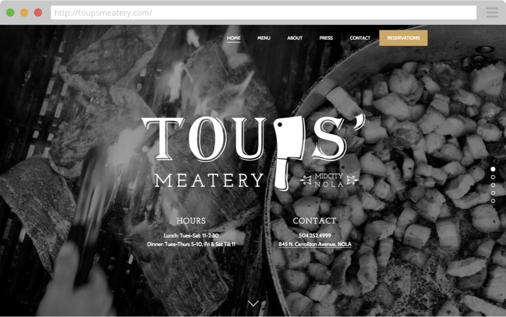 ToupsMeatery.com Homepage Top
