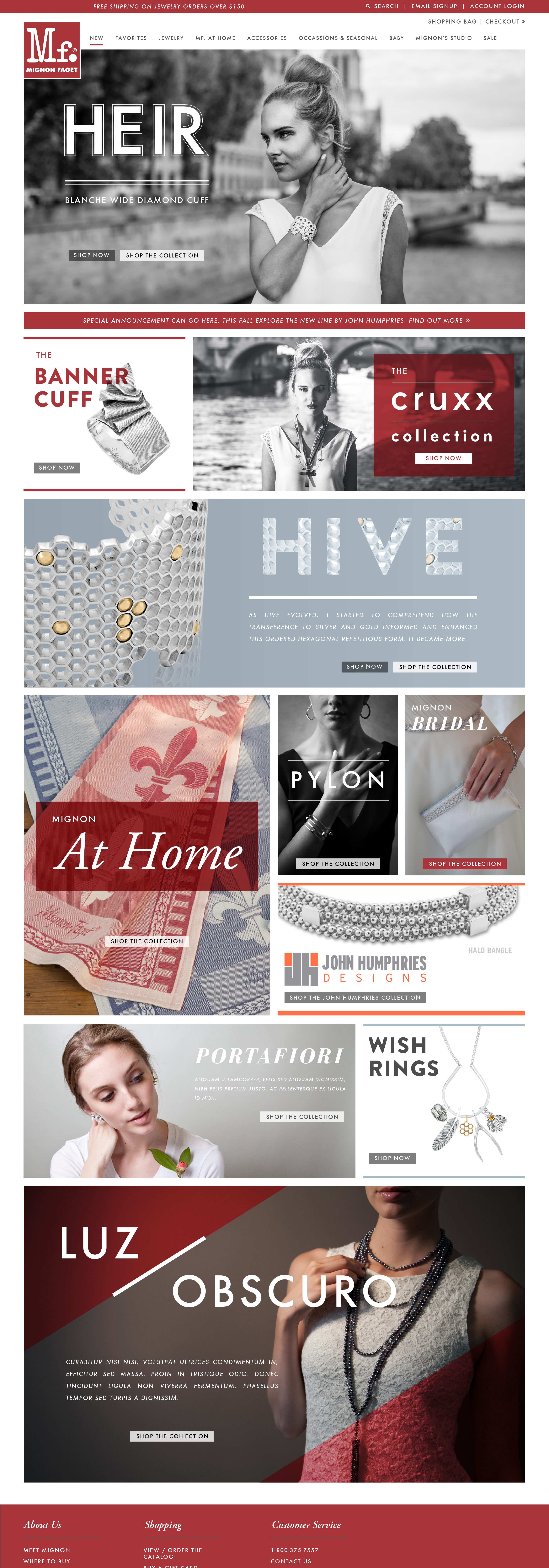 Mignon Faget Homepage Design