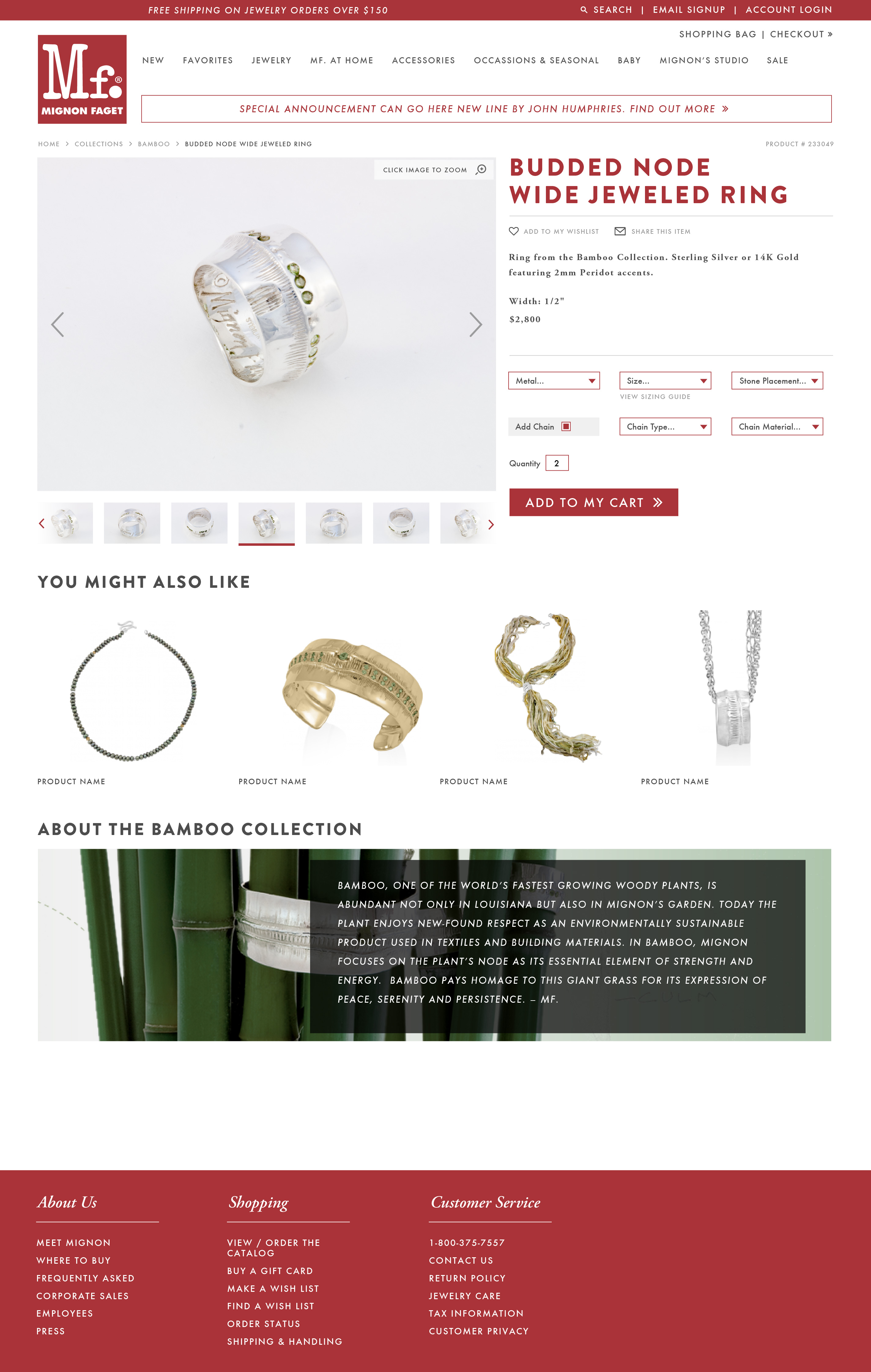 Mignon Faget Single Product Page Design